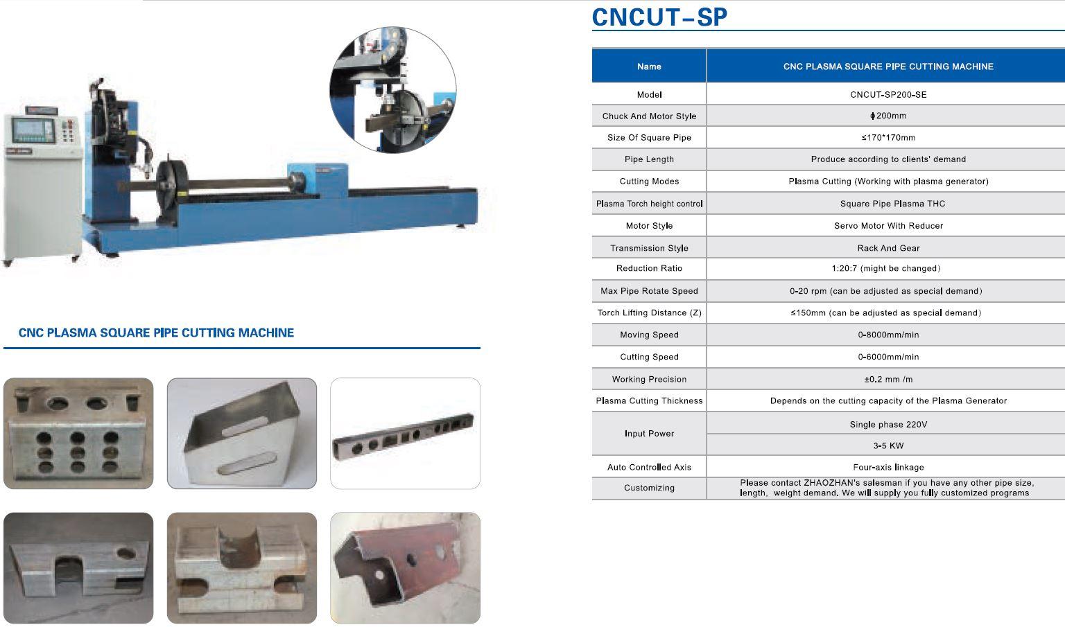 SP malli on suorakaideputkien ja neliöputkien leikkaamis plasma
